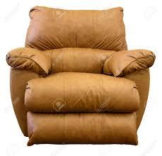 large comfortable overstuffed brown leather rocker recliner stock
