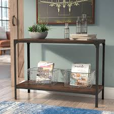 wood and metal console table trent austin design ajax wood metal console table reviews wayfair