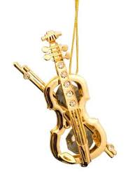 violin 24k gold plated swarovski ornament home