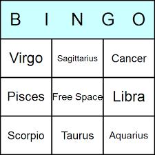 zodiac bingo cards printable bingo activity game and templates