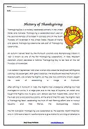 wonderful thanksgiving reading comprehension worksheets middle