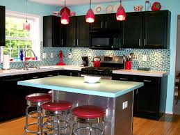 Laminate Kitchen Backsplash Laminate Modern Kitchen Countertop Design In Retro Style With Red