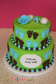 baby shower cake green blue brown 2 tier boy u2013 pixy cakes