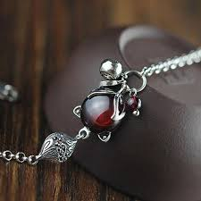 handmade silver charm bracelet images Real 925 sterling silver fox charm bracelets for women red garnet jpg