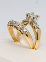 engagement and wedding ring set yellow gold and diamond wedding ring set for sale at 1stdibs