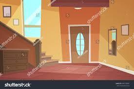 cartoon illustration retro style house hallway stock vector
