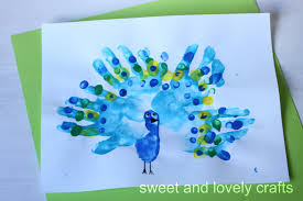 sweet and lovely crafts handprint peacocks