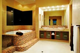 charming spa bathroom decor with mosaic cover bathtub and double