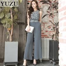 gray jumpsuit summer jumpsuit sleeveless belt lace s office suit gray