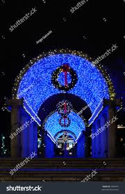 blue lights christmas decorations christopher columbus stock photo