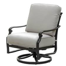 Sunbrella Rocking Chair Cushions Du Monde Cast Aluminum Outdoor Swivel Rocker Club Chair W
