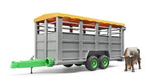bruder farm toys 02227 bruder 1 16 livestock trailer with 1 cow the farm toy store