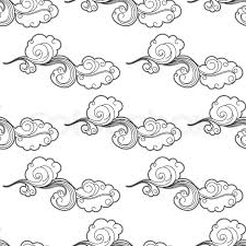 vintage cartoon clouds seamless pattern with curlicue swirling
