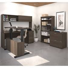 L Shaped Desk With Bookcase Uptown Height Adjustable L Shape Desk With Hutch Lateral File And