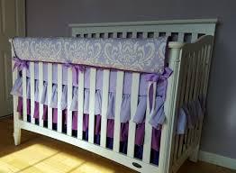 Lilac Damask Crib Bedding Baby Bedding Crib Bedding Lavender Damask Crib Rail Cover