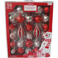time traditional shatterproof ornaments set of 56