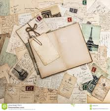 Vintage Scrapbook Album Open Book Old Letters And Postcards Travel Scrapbook France Pa