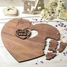 personalised wedding guestbook puzzle two hearts by create gift