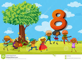 flashcard number 8 with eight children in the park stock vector