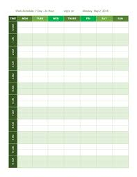 24 Hour Work Schedule Template Excel Free Work Schedule Templates For Word And Excel