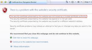 s website ssl certificate not trusted error