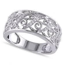 filigree engagement ring pave set filigree diamond ring 14k white gold 0 10ct allurez