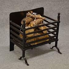 antique deep fire basket chimney hearth fireplace iron grate c1900