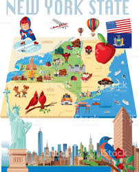 Map New York State New York State Cartoon Map Stock Vector Art 700319596 Istock