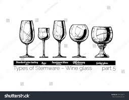 types wine glass standard wine tasting stock vector 674120677