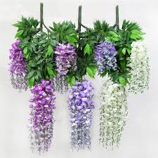 hanging flowers 12pcs lot 100cm silk wisteria artificial hanging flowers hanging