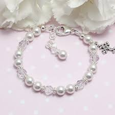 baptism jewelry blessing baptism baby bracelet with white pearls and clear
