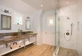 river rock floor bathroom farmhouse with contemporary design san