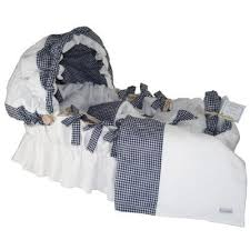 Baby Moses Basket Bedding Set White Pique With Navy Gingham Moses Basket Designer Moses