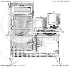 vintage clipart of a retro antique fireless cooking gas stove in
