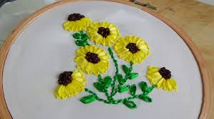 sunflower ribbon embroidery sunflower embroidery