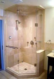 image result for neo angle shower doors with half pony wall