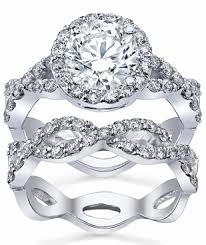 Infinity Wedding Rings by Halo Ring Twisted Split Shank And Matching Infinity Wedding Band