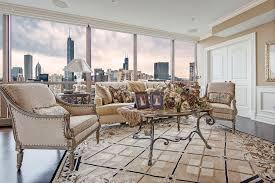 chicago skyline condo living room interior design skyline