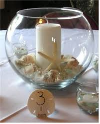 fish bowl centerpieces candles centerpieces wedding flowers photos pictures