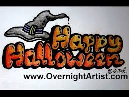 draw halloween draw happy halloween bubble letters step step