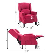 homcom heated vibrating suede massage recliner chair red gifts