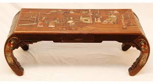 carved wood coffee table chinese carved wood inlaid stone coffee table