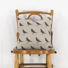16x16 decorative pillow cover with graphic bird plum and natural