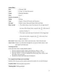 Calculating Molar Mass Worksheet Lesson Plan 3 1 Molecules Chemical Elements