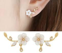 stud earrings for women new gold tone flower rhinestone stud earrings women