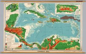 Physical Map Of Central America by Caribbean Physical Political David Rumsey Historical Map
