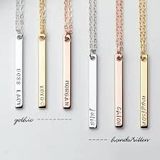 personalized gold jewelry dainty vertical sted name gold bar necklace personalized