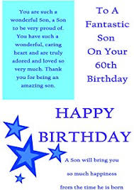 son 60th birthday card to a special son on your 60th birthday