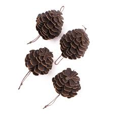 pine cone ornaments in grain leather