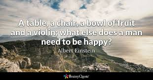 Albert Einsteins Desk A Table A Chair A Bowl Of Fruit And A Violin What Else Does A